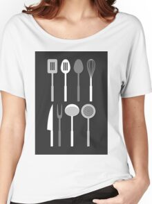 Kitchen Utensil Silhouettes Monochrome Women's Relaxed Fit T-Shirt