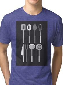 Kitchen Utensil Silhouettes Monochrome Tri-blend T-Shirt