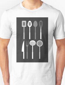 Kitchen Utensil Silhouettes Monochrome T-Shirt