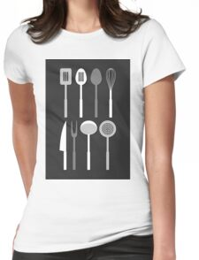 Kitchen Utensil Silhouettes Monochrome Womens Fitted T-Shirt