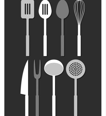 Kitchen Utensil Silhouettes Monochrome Sticker