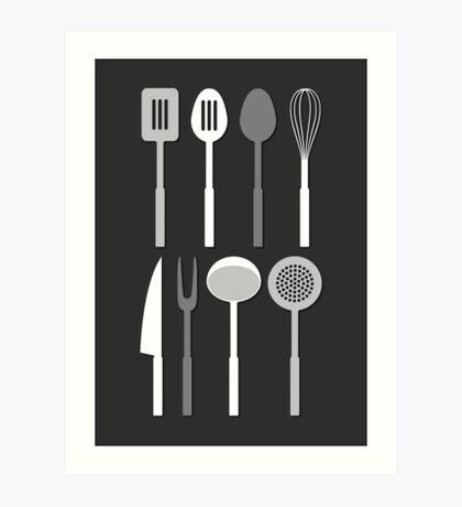 Kitchen Utensil Silhouettes Monochrome Art Print