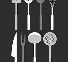 Kitchen Utensil Silhouettes Monochrome by NataliePaskell