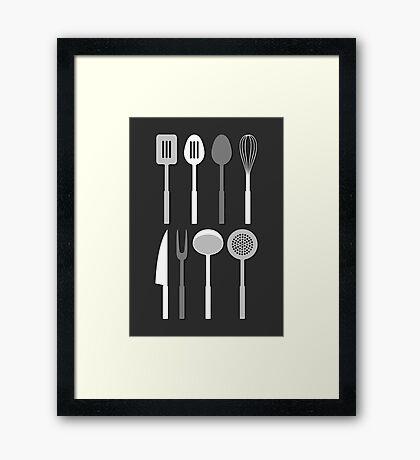 Kitchen Utensil Silhouettes Monochrome Framed Print