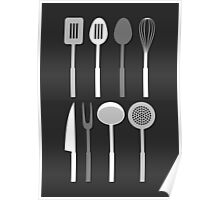 Kitchen Utensil Silhouettes Monochrome Poster
