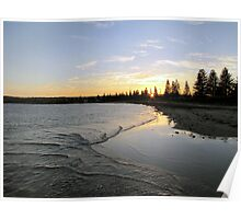 Victor Harbor beach at sunset Poster