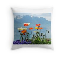Poppies at the lake Throw Pillow