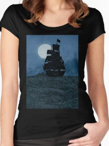 Sailing Under The Moon Women's Fitted Scoop T-Shirt