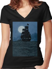 Sailing Under The Moon Women's Fitted V-Neck T-Shirt