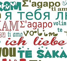 Multi-Language Love, Hearts - Blue Green Red  by sitnica
