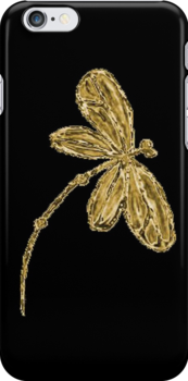 Dragonfly iPhone Case Gold by lyndseyart