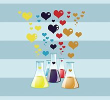 Chemistry Flask, Hearts - Red Blue Yellow Purple by sitnica