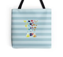 Chemistry Flask, Hearts - Red Blue Yellow Purple Tote Bag