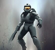 Halo 3 - Master Chief Dropping In by The5thHorseman