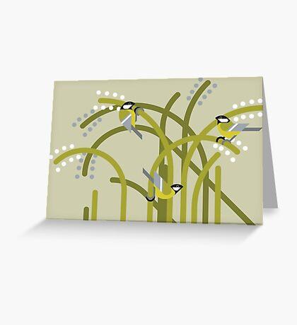 Three Great Tits vector illustration Greeting Card