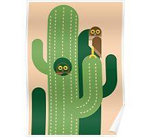 Burrowing owls and cacti vector illustration Poster