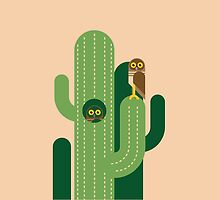 Burrowing owls and cacti vector illustration by GA-Studio