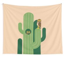 Burrowing owls and cacti vector illustration Wall Tapestry