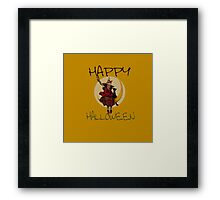 Happy Halloween moon witch Framed Print