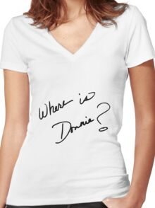 Where is Donnie? Women's Fitted V-Neck T-Shirt