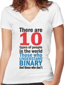 There are 10 types of people  Women's Fitted V-Neck T-Shirt