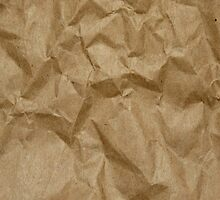 Wrinkled Paper, Crumpled Paper Texture - Brown by sitnica