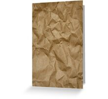 Wrinkled Paper, Crumpled Paper Texture - Brown Greeting Card