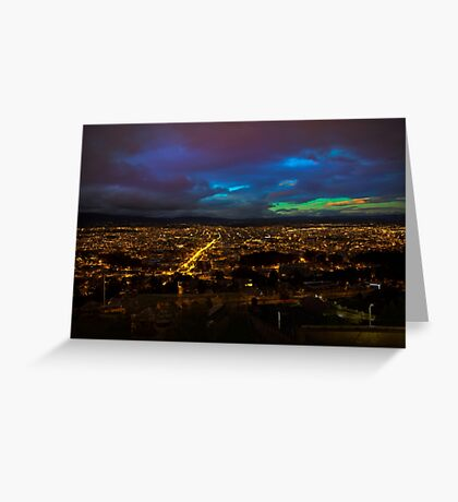 Late Dusk View Of Cuenca From Turi Greeting Card