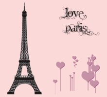 Eiffel Tower, Hearts, Polka Dots - Black Pink  Kids Clothes