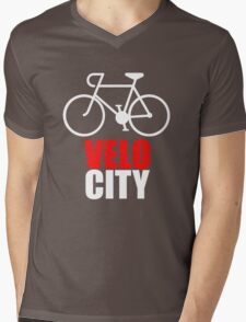 VeloCity Version 2 Red White Mens V-Neck T-Shirt
