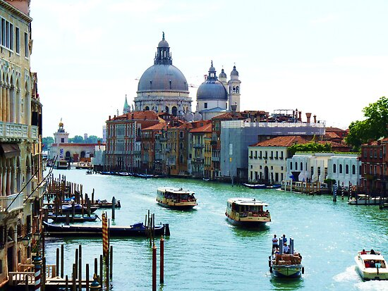 Grand Canal Venice, with Chiesa Della Salute and Peggy Guggenheims' by artfulvistas