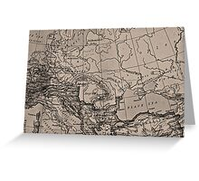 Old Map, Europe - Brown Black Gray Greeting Card