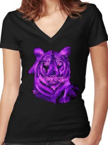 Purple tiger T SHIRT/STICKER Women's Fitted V-Neck T-Shirt