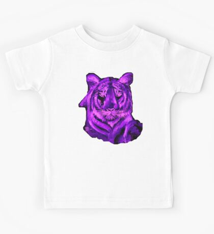 Purple tiger T SHIRT/STICKER Kids Tee