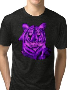 Purple tiger T SHIRT/STICKER Tri-blend T-Shirt