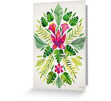 Tropical Symmetry – Pink & Green Greeting Card