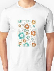 Flowers blue and orange T-Shirt