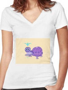 The Purple Turtle And A Bluebird Of Glee Women's Fitted V-Neck T-Shirt