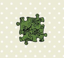Jigsaw Puzzle Piece, Damask - Green Black  by sitnica