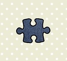 Jigsaw Puzzle Piece, Denim (Twill Textile) - Blue by sitnica