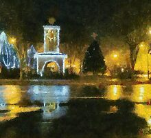 Town Square on December Night by Jean Gregory  Evans