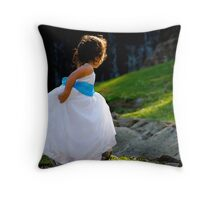A Playful Flowergirl Throw Pillow