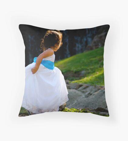 A Playful Flowergirl Throw Pillow