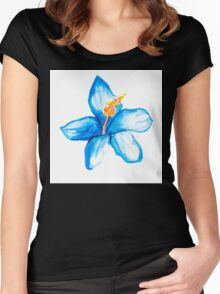 Blue hibiscus flower Women's Fitted Scoop T-Shirt