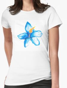 Blue hibiscus flower Womens Fitted T-Shirt