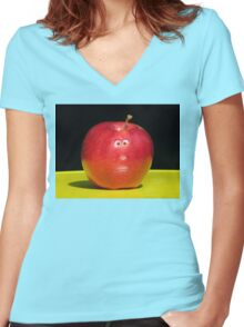 RED APPLE FACE Women's Fitted V-Neck T-Shirt