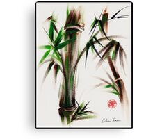 """""""Motu"""" -  acrylic and ink wash painting of bamboo. Canvas Print"""