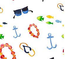 Watercolor sea summer. Flip flop sandals, sunglasses, fish by Wedphoto