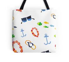 Watercolor sea summer. Flip flop sandals, sunglasses, fish Tote Bag
