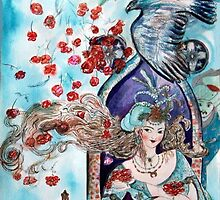 ORIENTAL FAIRY TALE / PRINCESS ,RED ROSES AND FLYING  HAWK by BulganLumini